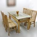 Bộ bàn ghế ăn gỗ Sồi 6 ghế mẫu 2 tầng