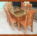 Bộ bàn ghế ăn gỗ Sồi 6 ghế mẫu 2 tầng - Màu xoan đào