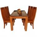 Bộ bàn ghế ăn gỗ xoan 6 ghế mẫu 2 tầng 1m6